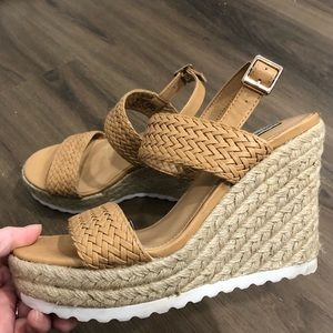 Steve Madden Braided Faux Leather & Woven Wedges